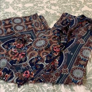 Floral wide leg palazzo pants